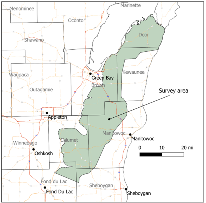 Map of northeast Wisconsin that highlights the surveying area the helicopter will fly over