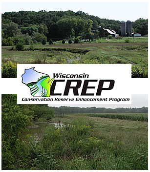 CREP  sign superimposed on farm scene and field and stream scene