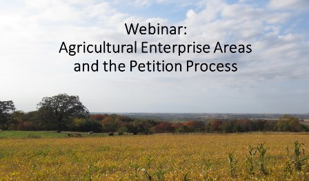 Link to ag enterprise areas webinar on the petition process