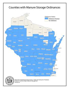 Map of counties with manure storage ordinances