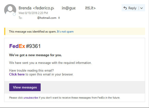 First example of a fake FedEx shipping email